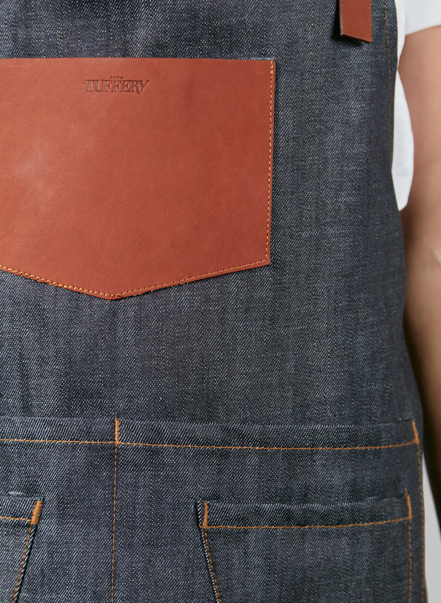 Tablier en jean français court originel