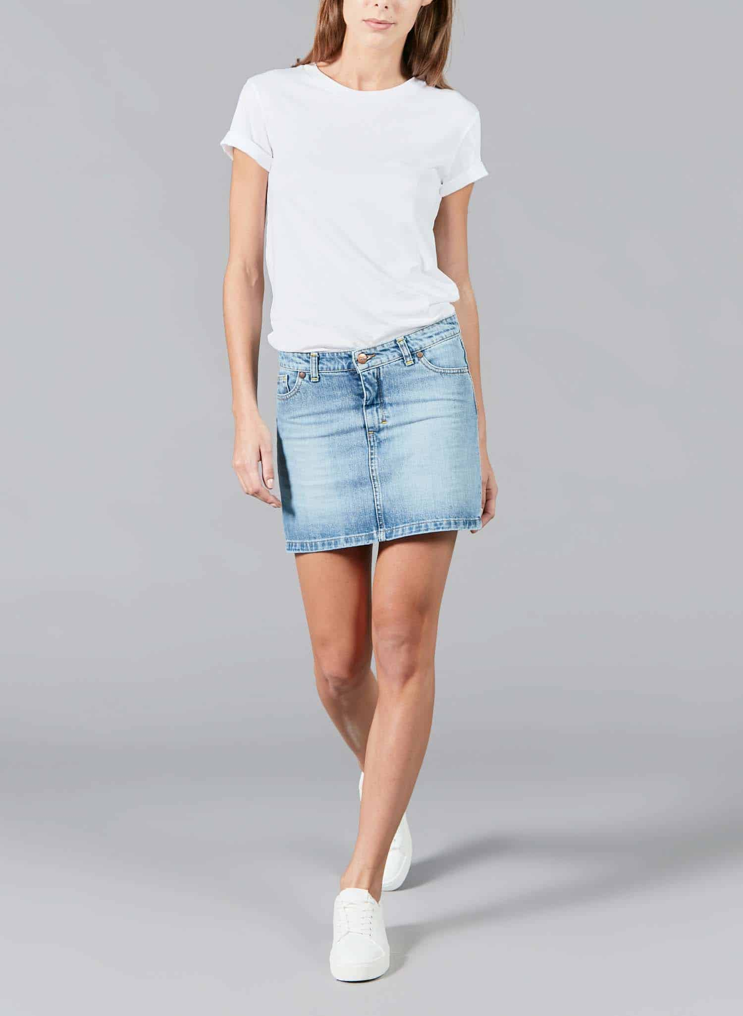 Woman Mini Skirt Jean Fanny Light Blue Atelier Tuffery