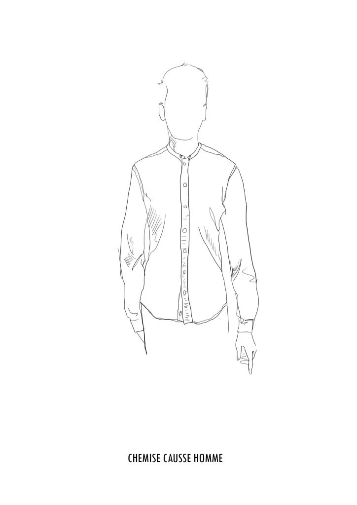 Croquis Causses chemise made in France homme en jean - Atelier TUFFERY