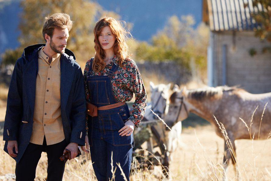 Dufflecoat Aigoual homme brut laine, pantalon jean Alphonse noir et salopette André femme brut bio - Lookbook #2