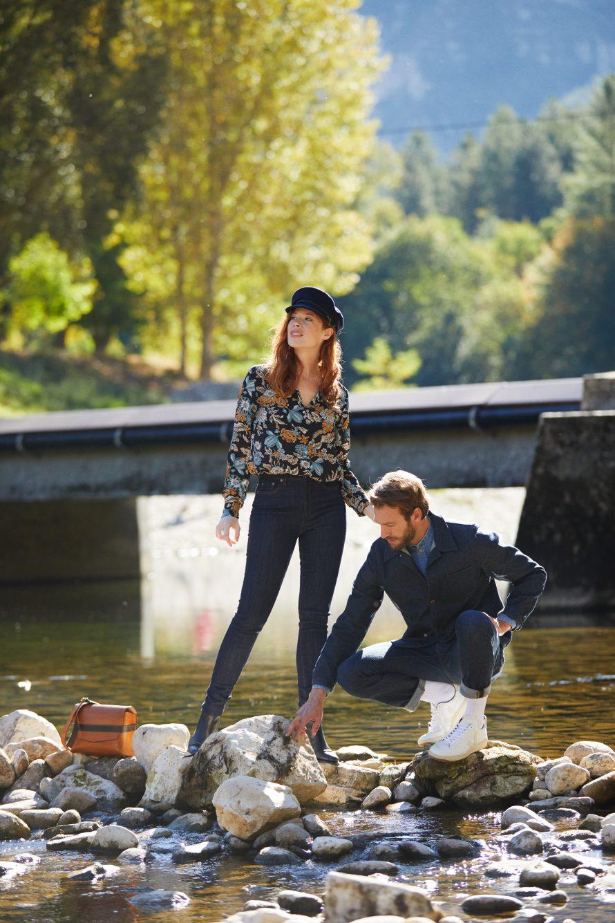 Veste Méjean homme brut laine, pantalon jean homme Alphonse laine, chemise homme Causses clair femme Marianne brut bio - Atelier TUFFERY