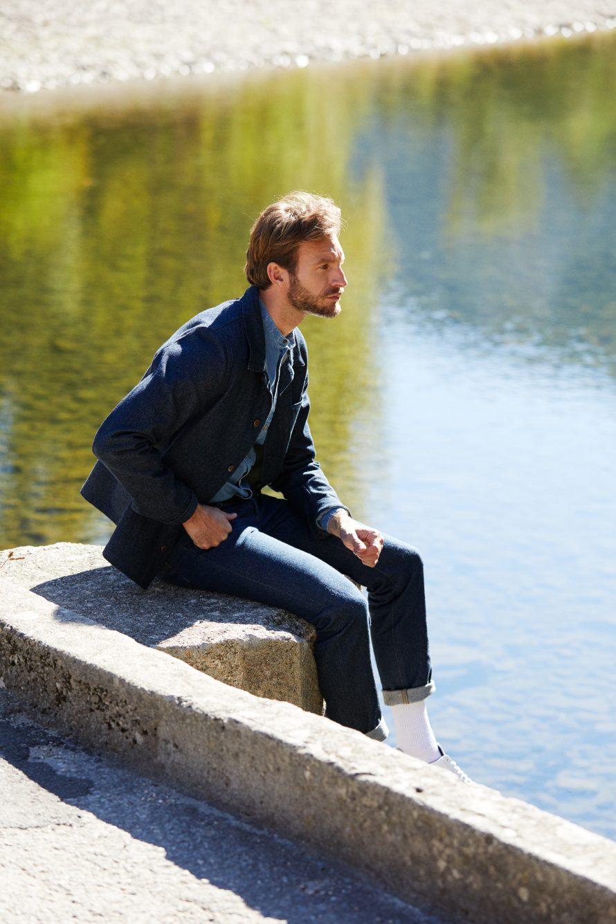 Veste Méjean homme brut laine, pantalon jean homme Alphonse laine, chemise homme Causses clair